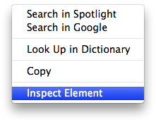 Inspect Element context menu
