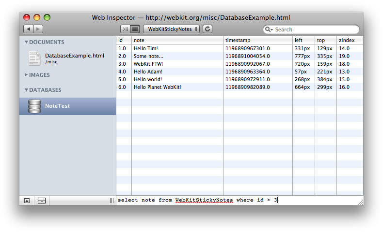 Web Inspector's Database Browser