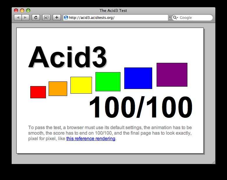 WebKit achieves Acid3 100/100 ...