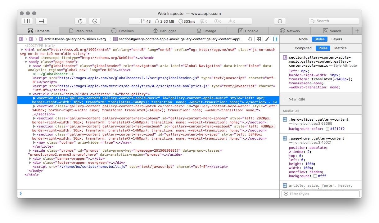 Web Inspector Elements Tab