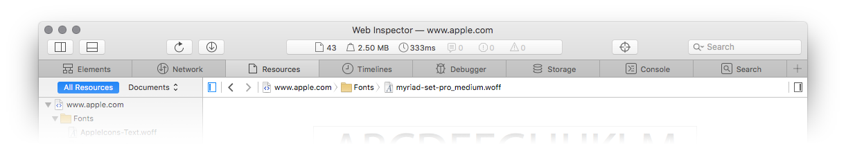 Web Inspector Tab Bar