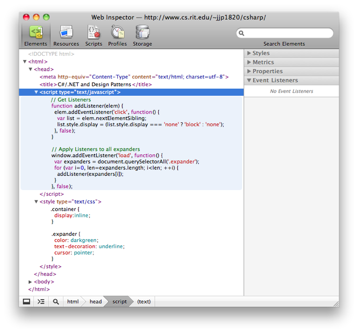 Inline JavaScript and CSS Syntax Highlighting