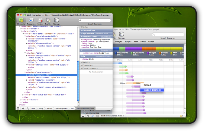 Work on the Web Inspector using the Web Inspector!