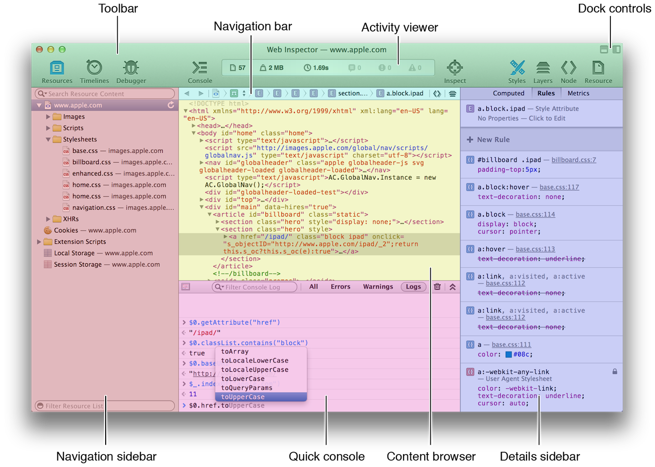 Web Inspector Layout