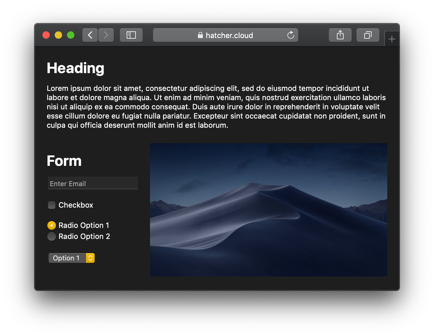 Example page in dark mode