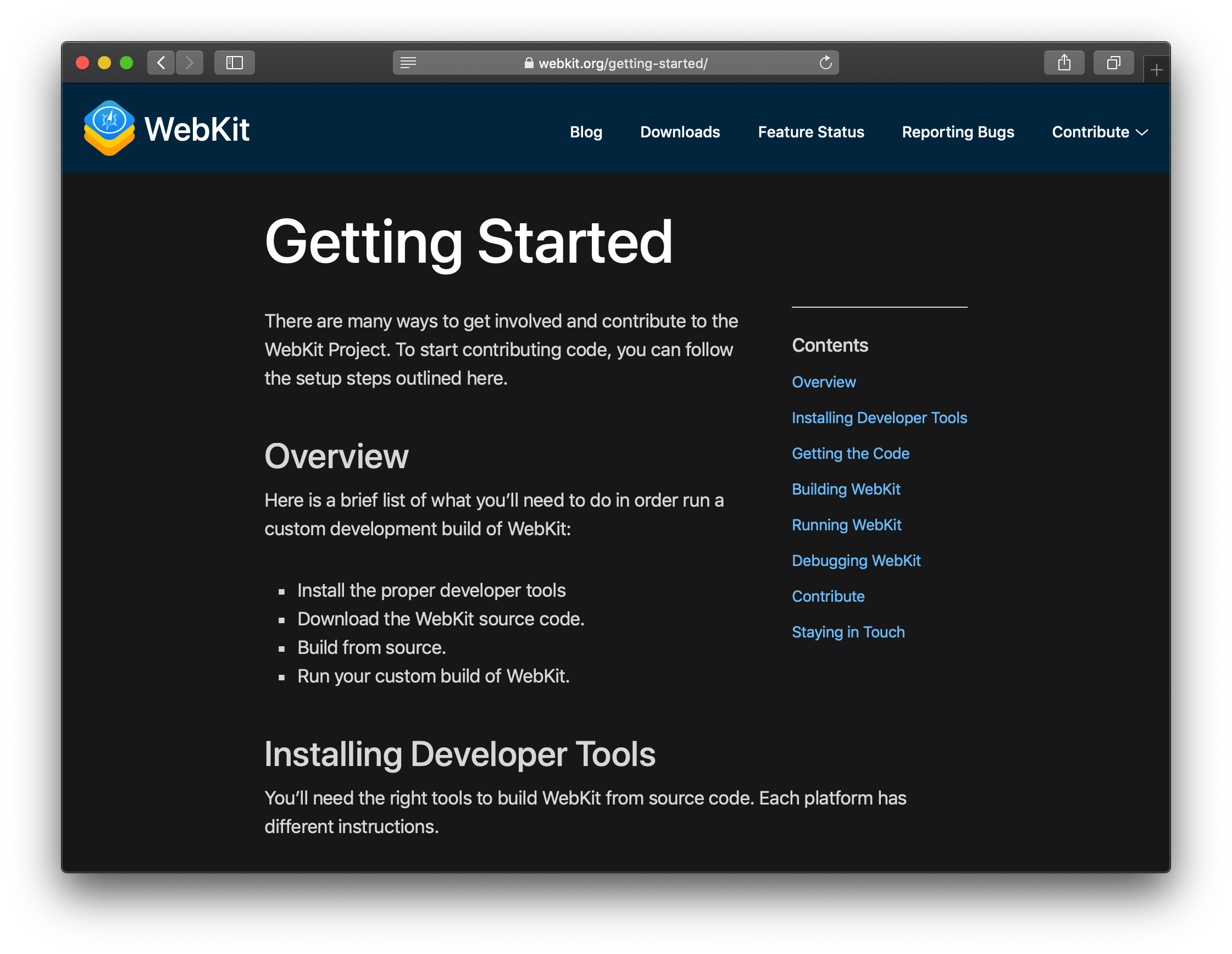 WebKit.org Getting Started page shown in dark mode