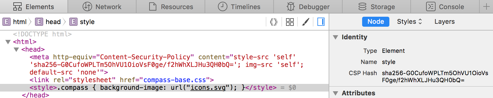 The CSP hash of the inline stylesheet in the example page is sha256-G0CufoWPLTm5OhVU1OioVsF0ge/f2hWhXLJHu3QH0bQ=.