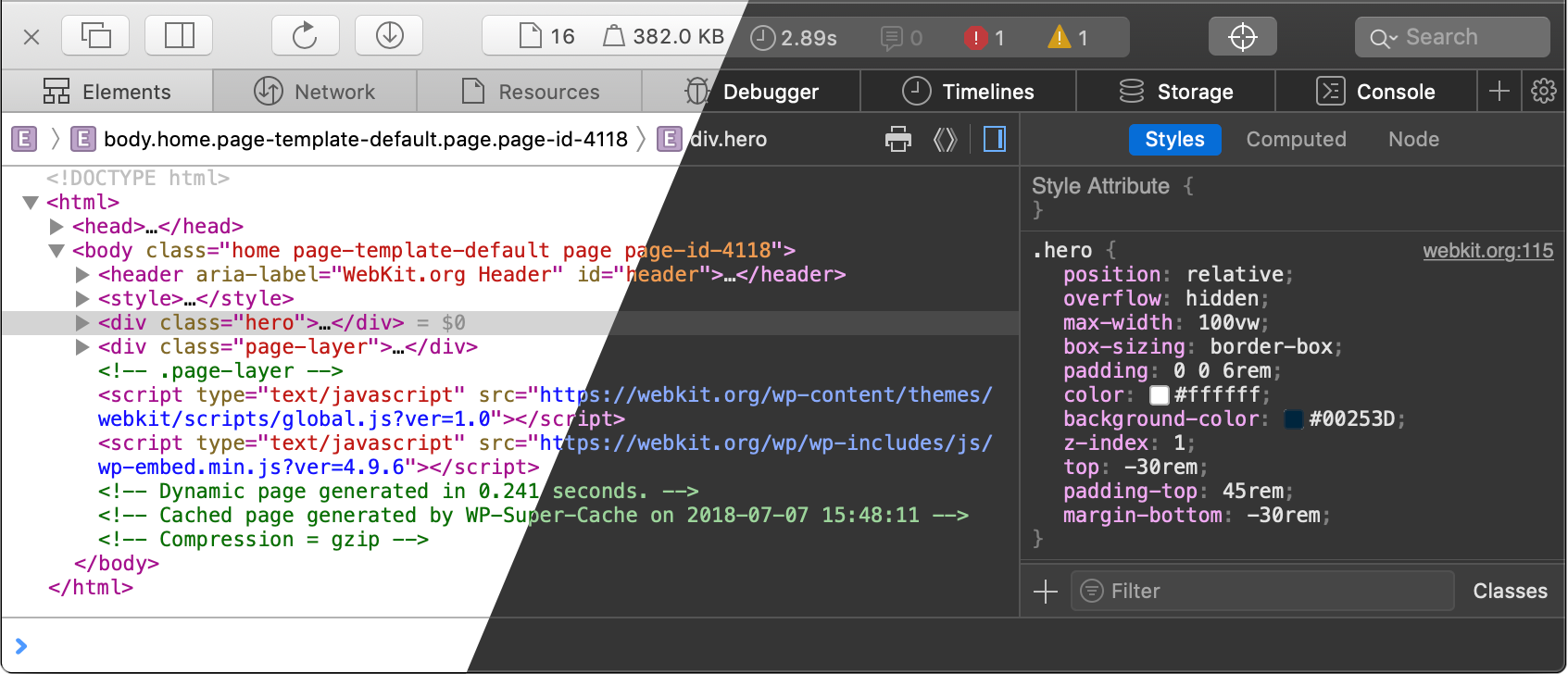Web Inspector: Light/Dark color schemes